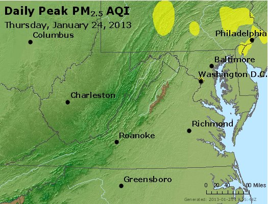 Peak Particles PM<sub>2.5</sub> (24-hour) - http://files.airnowtech.org/airnow/2013/20130124/peak_pm25_va_wv_md_de_dc.jpg