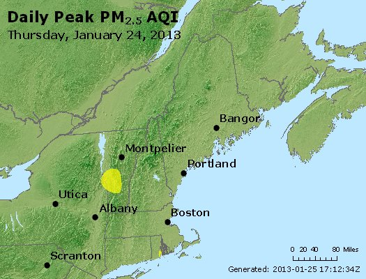 Peak Particles PM<sub>2.5</sub> (24-hour) - http://files.airnowtech.org/airnow/2013/20130124/peak_pm25_vt_nh_ma_ct_ri_me.jpg