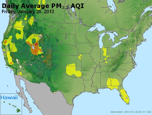 Peak Particles PM<sub>2.5</sub> (24-hour) - http://files.airnowtech.org/airnow/2013/20130125/peak_pm25_usa.jpg