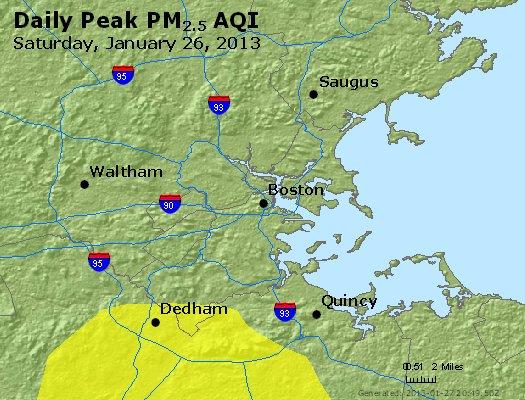 Peak Particles PM<sub>2.5</sub> (24-hour) - http://files.airnowtech.org/airnow/2013/20130126/peak_pm25_boston_ma.jpg