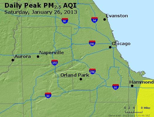 Peak Particles PM<sub>2.5</sub> (24-hour) - http://files.airnowtech.org/airnow/2013/20130126/peak_pm25_chicago_il.jpg