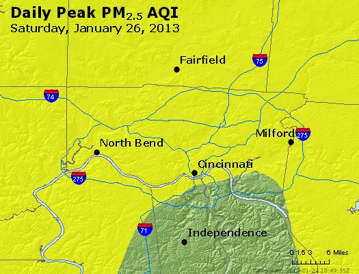 Peak Particles PM<sub>2.5</sub> (24-hour) - http://files.airnowtech.org/airnow/2013/20130126/peak_pm25_cincinnati_oh.jpg