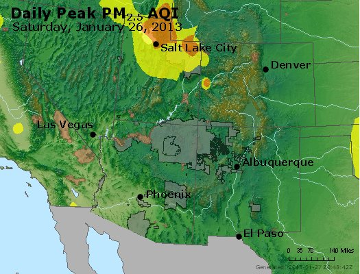 Peak Particles PM<sub>2.5</sub> (24-hour) - http://files.airnowtech.org/airnow/2013/20130126/peak_pm25_co_ut_az_nm.jpg