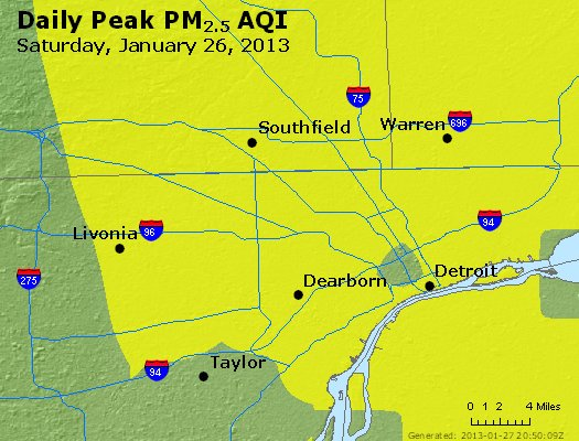 Peak Particles PM<sub>2.5</sub> (24-hour) - http://files.airnowtech.org/airnow/2013/20130126/peak_pm25_detroit_mi.jpg