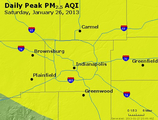 Peak Particles PM<sub>2.5</sub> (24-hour) - http://files.airnowtech.org/airnow/2013/20130126/peak_pm25_indianapolis_in.jpg