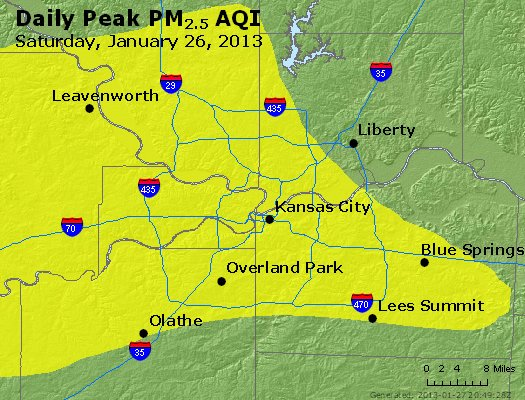 Peak Particles PM<sub>2.5</sub> (24-hour) - http://files.airnowtech.org/airnow/2013/20130126/peak_pm25_kansascity_mo.jpg