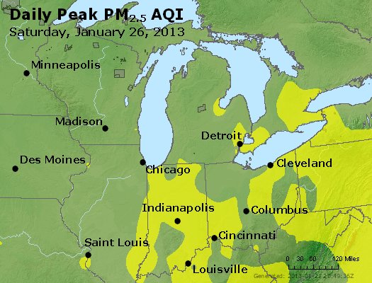 Peak Particles PM<sub>2.5</sub> (24-hour) - http://files.airnowtech.org/airnow/2013/20130126/peak_pm25_mi_in_oh.jpg
