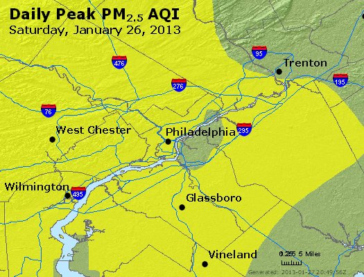 Peak Particles PM<sub>2.5</sub> (24-hour) - http://files.airnowtech.org/airnow/2013/20130126/peak_pm25_philadelphia_pa.jpg