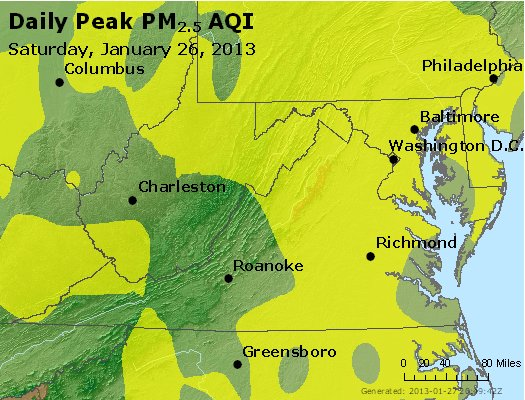 Peak Particles PM<sub>2.5</sub> (24-hour) - http://files.airnowtech.org/airnow/2013/20130126/peak_pm25_va_wv_md_de_dc.jpg