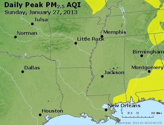 Peak Particles PM<sub>2.5</sub> (24-hour) - http://files.airnowtech.org/airnow/2013/20130127/peak_pm25_ar_la_ms.jpg