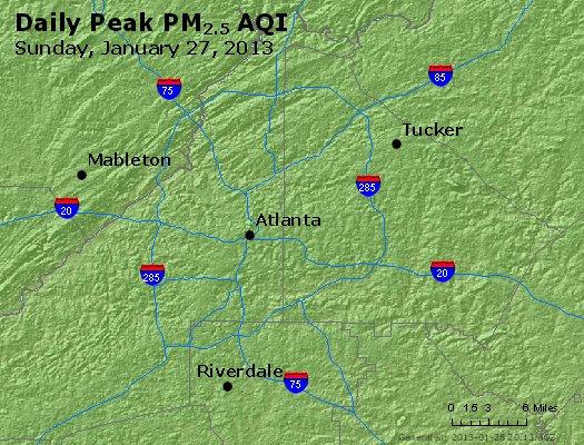 Peak Particles PM<sub>2.5</sub> (24-hour) - http://files.airnowtech.org/airnow/2013/20130127/peak_pm25_atlanta_ga.jpg