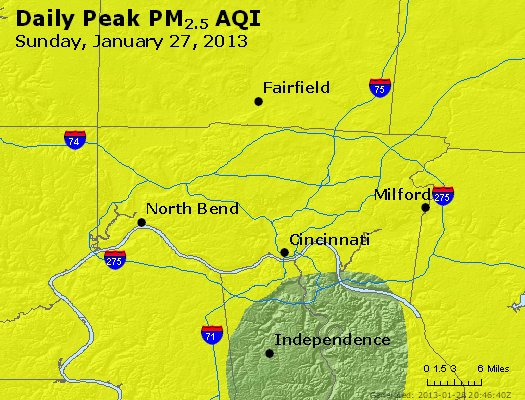 Peak Particles PM<sub>2.5</sub> (24-hour) - http://files.airnowtech.org/airnow/2013/20130127/peak_pm25_cincinnati_oh.jpg