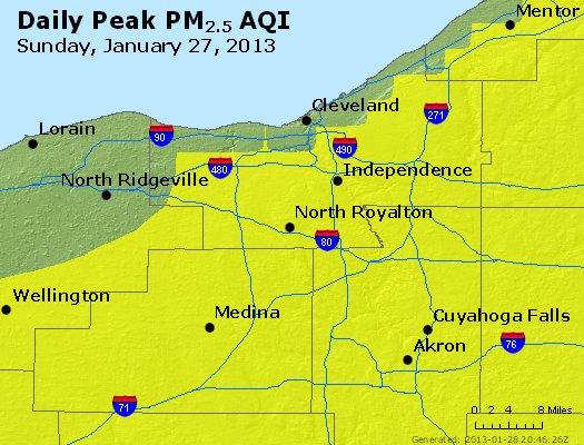Peak Particles PM<sub>2.5</sub> (24-hour) - http://files.airnowtech.org/airnow/2013/20130127/peak_pm25_cleveland_oh.jpg
