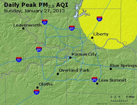Peak Particles PM<sub>2.5</sub> (24-hour) - http://files.airnowtech.org/airnow/2013/20130127/peak_pm25_kansascity_mo.jpg