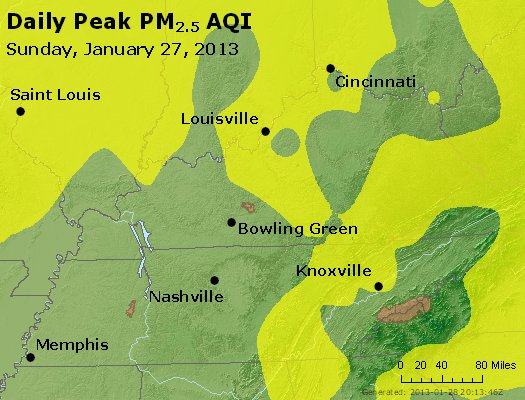 Peak Particles PM<sub>2.5</sub> (24-hour) - http://files.airnowtech.org/airnow/2013/20130127/peak_pm25_ky_tn.jpg