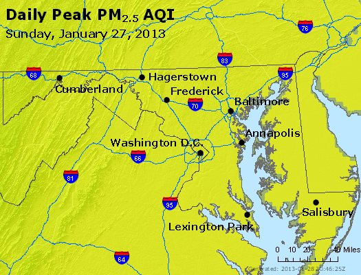 Peak Particles PM<sub>2.5</sub> (24-hour) - http://files.airnowtech.org/airnow/2013/20130127/peak_pm25_maryland.jpg