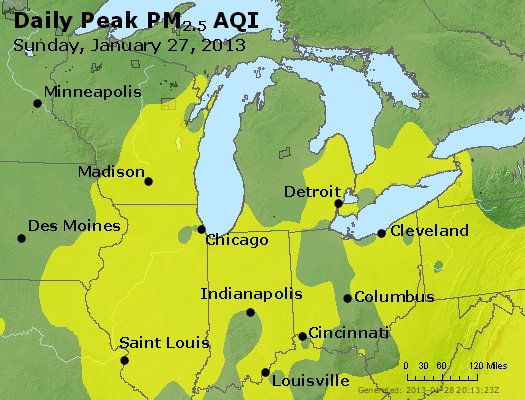 Peak Particles PM<sub>2.5</sub> (24-hour) - http://files.airnowtech.org/airnow/2013/20130127/peak_pm25_mi_in_oh.jpg