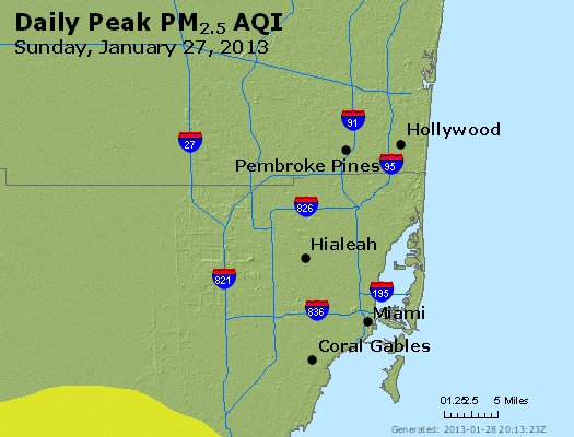Peak Particles PM<sub>2.5</sub> (24-hour) - http://files.airnowtech.org/airnow/2013/20130127/peak_pm25_miami_fl.jpg