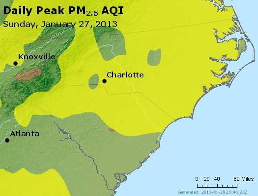 Peak Particles PM<sub>2.5</sub> (24-hour) - http://files.airnowtech.org/airnow/2013/20130127/peak_pm25_nc_sc.jpg