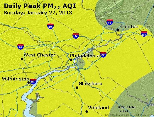 Peak Particles PM<sub>2.5</sub> (24-hour) - http://files.airnowtech.org/airnow/2013/20130127/peak_pm25_philadelphia_pa.jpg