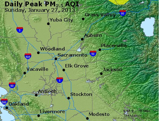Peak Particles PM<sub>2.5</sub> (24-hour) - http://files.airnowtech.org/airnow/2013/20130127/peak_pm25_sacramento_ca.jpg