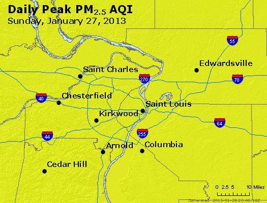 Peak Particles PM<sub>2.5</sub> (24-hour) - http://files.airnowtech.org/airnow/2013/20130127/peak_pm25_stlouis_mo.jpg