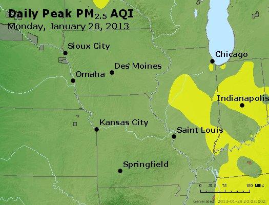 Peak Particles PM<sub>2.5</sub> (24-hour) - http://files.airnowtech.org/airnow/2013/20130128/peak_pm25_ia_il_mo.jpg