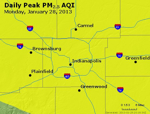 Peak Particles PM<sub>2.5</sub> (24-hour) - http://files.airnowtech.org/airnow/2013/20130128/peak_pm25_indianapolis_in.jpg