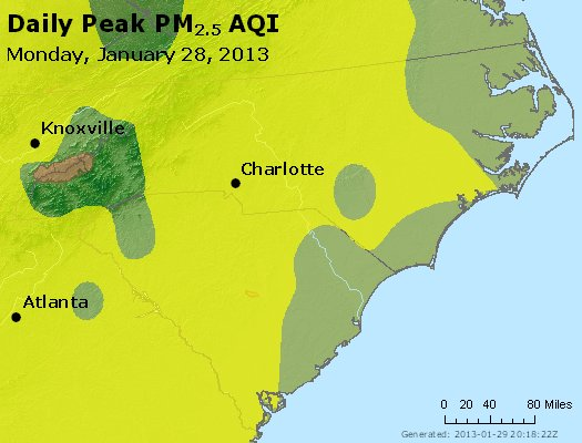 Peak Particles PM<sub>2.5</sub> (24-hour) - http://files.airnowtech.org/airnow/2013/20130128/peak_pm25_nc_sc.jpg