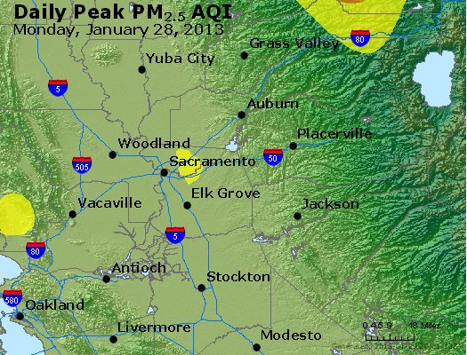 Peak Particles PM<sub>2.5</sub> (24-hour) - http://files.airnowtech.org/airnow/2013/20130128/peak_pm25_sacramento_ca.jpg