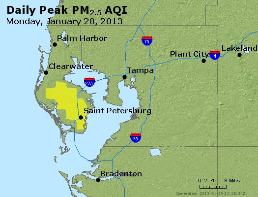 Peak Particles PM<sub>2.5</sub> (24-hour) - http://files.airnowtech.org/airnow/2013/20130128/peak_pm25_tampa_fl.jpg