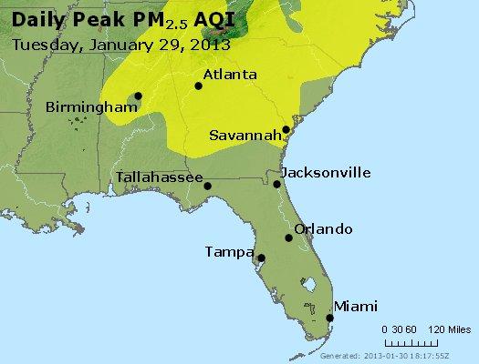 Peak Particles PM<sub>2.5</sub> (24-hour) - http://files.airnowtech.org/airnow/2013/20130129/peak_pm25_al_ga_fl.jpg