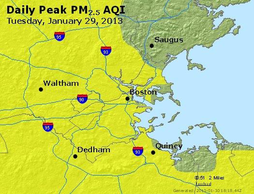 Peak Particles PM<sub>2.5</sub> (24-hour) - http://files.airnowtech.org/airnow/2013/20130129/peak_pm25_boston_ma.jpg