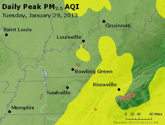 Peak Particles PM<sub>2.5</sub> (24-hour) - http://files.airnowtech.org/airnow/2013/20130129/peak_pm25_ky_tn.jpg