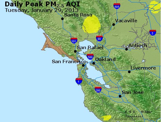 Peak Particles PM<sub>2.5</sub> (24-hour) - http://files.airnowtech.org/airnow/2013/20130129/peak_pm25_sanfrancisco_ca.jpg