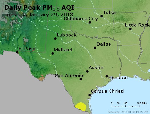 Peak Particles PM<sub>2.5</sub> (24-hour) - http://files.airnowtech.org/airnow/2013/20130129/peak_pm25_tx_ok.jpg