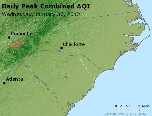Peak AQI - http://files.airnowtech.org/airnow/2013/20130130/peak_aqi_nc_sc.jpg