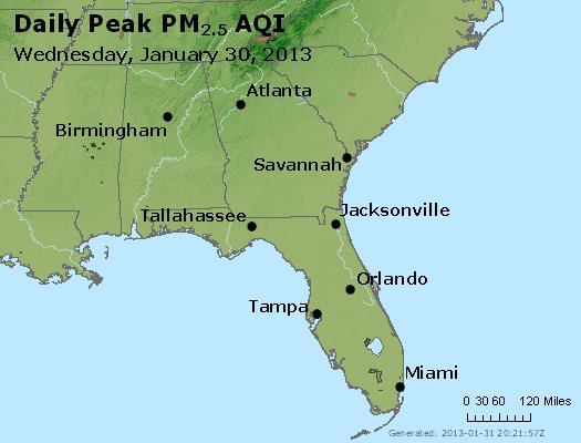 Peak Particles PM<sub>2.5</sub> (24-hour) - http://files.airnowtech.org/airnow/2013/20130130/peak_pm25_al_ga_fl.jpg