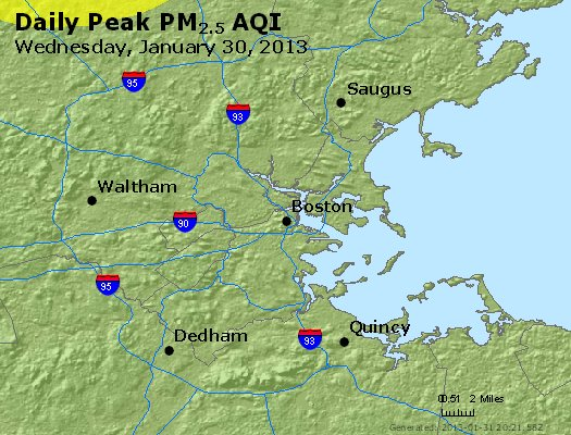 Peak Particles PM<sub>2.5</sub> (24-hour) - http://files.airnowtech.org/airnow/2013/20130130/peak_pm25_boston_ma.jpg