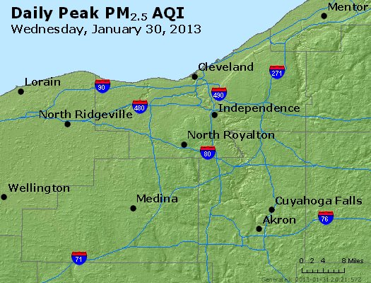 Peak Particles PM<sub>2.5</sub> (24-hour) - http://files.airnowtech.org/airnow/2013/20130130/peak_pm25_cleveland_oh.jpg