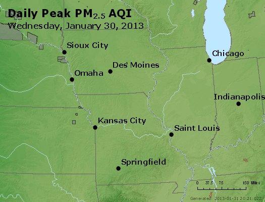 Peak Particles PM<sub>2.5</sub> (24-hour) - http://files.airnowtech.org/airnow/2013/20130130/peak_pm25_ia_il_mo.jpg