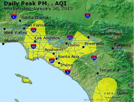 Peak Particles PM<sub>2.5</sub> (24-hour) - http://files.airnowtech.org/airnow/2013/20130130/peak_pm25_losangeles_ca.jpg