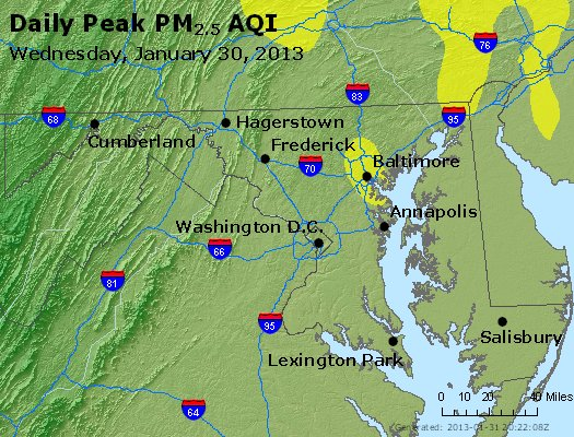 Peak Particles PM<sub>2.5</sub> (24-hour) - http://files.airnowtech.org/airnow/2013/20130130/peak_pm25_maryland.jpg