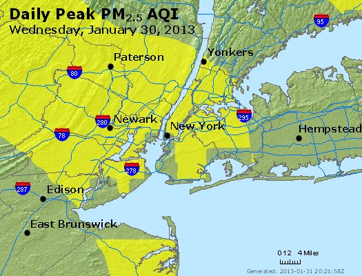 Peak Particles PM<sub>2.5</sub> (24-hour) - http://files.airnowtech.org/airnow/2013/20130130/peak_pm25_newyork_ny.jpg