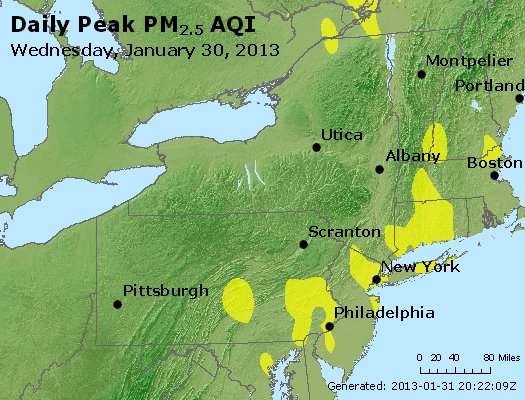 Peak Particles PM<sub>2.5</sub> (24-hour) - http://files.airnowtech.org/airnow/2013/20130130/peak_pm25_ny_pa_nj.jpg
