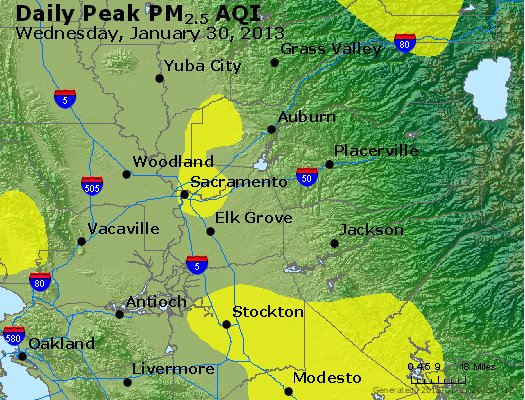 Peak Particles PM<sub>2.5</sub> (24-hour) - http://files.airnowtech.org/airnow/2013/20130130/peak_pm25_sacramento_ca.jpg