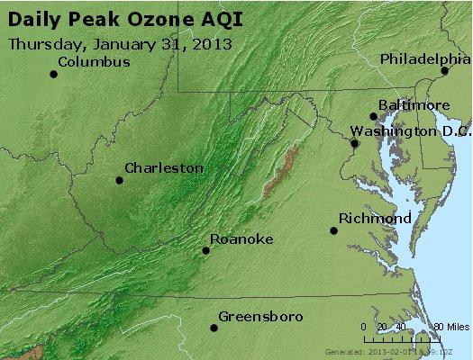 Peak Ozone (8-hour) - http://files.airnowtech.org/airnow/2013/20130131/peak_o3_va_wv_md_de_dc.jpg