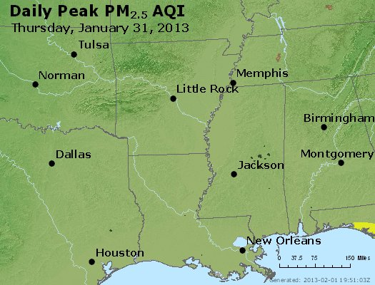 Peak Particles PM<sub>2.5</sub> (24-hour) - http://files.airnowtech.org/airnow/2013/20130131/peak_pm25_ar_la_ms.jpg