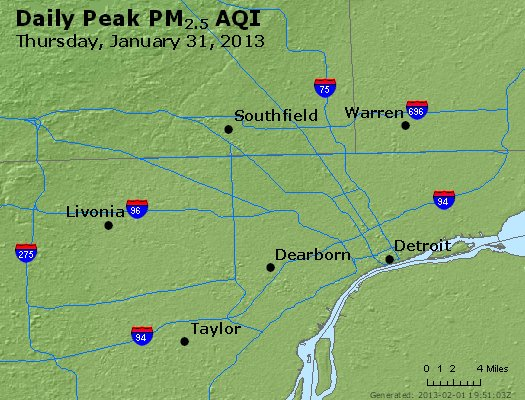 Peak Particles PM<sub>2.5</sub> (24-hour) - http://files.airnowtech.org/airnow/2013/20130131/peak_pm25_detroit_mi.jpg
