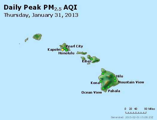 Peak Particles PM<sub>2.5</sub> (24-hour) - http://files.airnowtech.org/airnow/2013/20130131/peak_pm25_hawaii.jpg